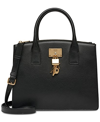 DKNY Elissa Pebbled Split with Charm Detail Large Satchel (Dkny Charm)