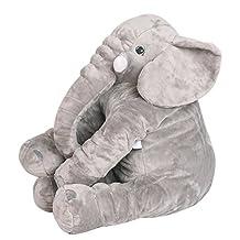 "NHSUNRAY Elephant Pillow Super Soft Cute Big Stuffed Animal Toy Plush Toy for Baby Children Kids Gift (55x60cm/21.6"" x 23.6"", Grey)"