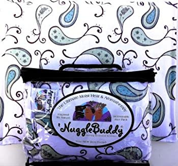 'NUGGLEBUDDY NEW! Microwaveable Moist Heat & Aromatherapy Organic Rice Pack. Cold Pack! Beautiful Green, Aqua & Cream Paisley Fabric. This Product is UNSCENTED!.