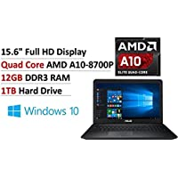 2017 NEW Flagship ASUS 15.6 Full HD Premium Business Laptop, AMD Quad Core A10-8700P up to 3.2GHz, 12GB DDR3, 1TB HDD, AMD Radeon R6 Series, DVDRW, 802.11ac, Bluetooth, USB3.0, Webcam, Windows10-Blue