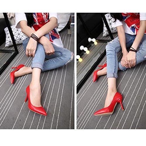 elegantes de Ren bien Jia femenino solo Firm Size Shi tacones Verano 39 zapatos Red Chang trabajo zapatos Pin sexy altos con inclinado de cuero Color tacones ayuda xxrqT7wH5