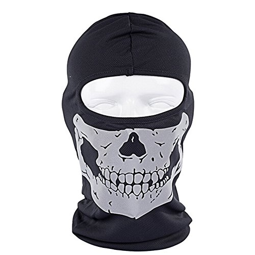 Ezyoutdoor Black Skull Reflective Balaclava Full Face Mask Long Neck Hat for Outdoor Motorcycle Cycling Hiking Skiing Riding
