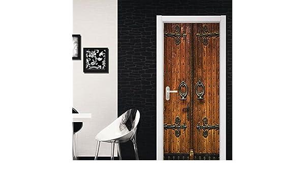 Puerta De Madera Vieja Vintage Creativa 3D Imprimir Vinilo Puerta De La Habitación Tatuajes De Pared Murales De Pared Pegatinas Posters Bricolaje Decoraciones 77X200Cm: Amazon.es: Bricolaje y herramientas
