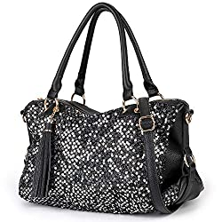 Sequin Leather Tote Handbags for Women