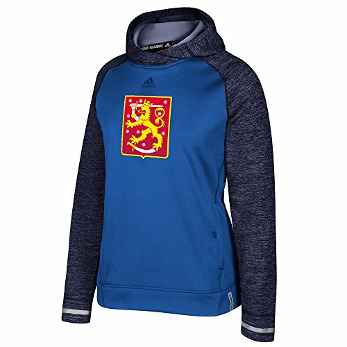 adidas Finland NHL Blue 2016 World Cup of Hockey Climawarm Player Pullover Hoodie for Women (XL)