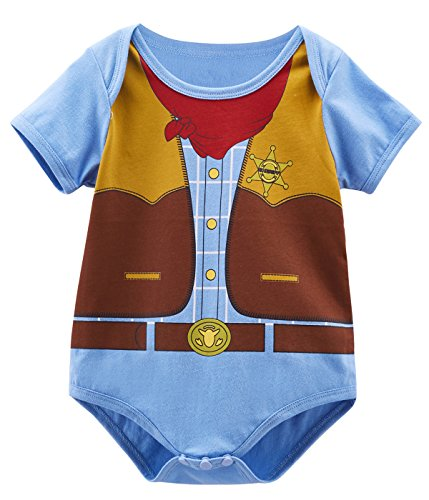 Mombebe Baby Uniform Costume Bodysuit (12-18 Months, Cowboy) (Body Suit Costume)