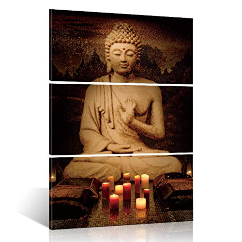 ShuaXin Framed Modern Large Buddha Portrait Painting Printed On Canvas Religion Wall Art Triptych Canvas Painting Home Decoration Wall 3 Pieces 16x32 inch ()