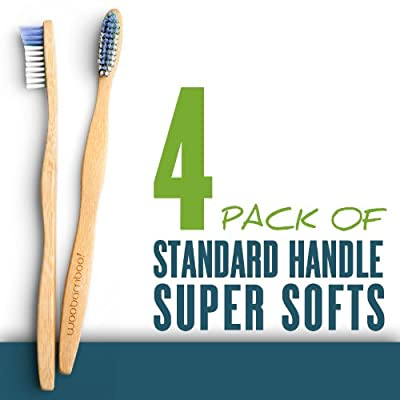 Woo Bamboo STANDARD Toothbrush With SUPER SOFT Bristles - Family FOUR PACK