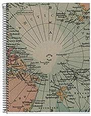 MIQUELRIUS - Notitieboek, 100% gerecycled, 1 gekleurde strepen, A4, 80 vellen, geruit, 5 mm, papier 80 g, 4 gaten, omslag van gerecycled karton, design Ecomaps