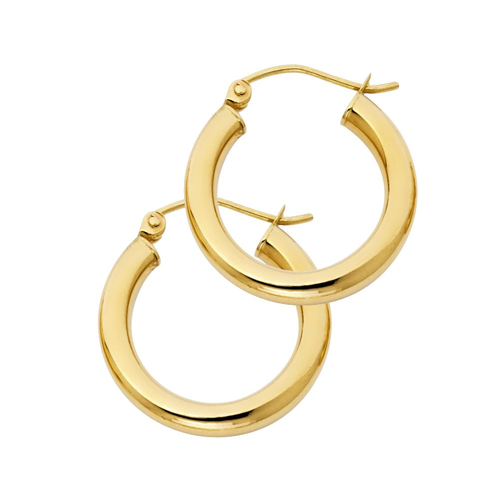 14k Yellow Gold 3mm Thick Plain Hoop Earrings, 19mm X 19mm