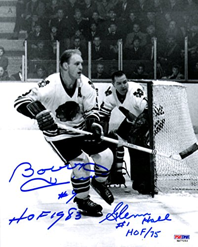 PSA/DNA Bobby Hull & Glenn Hall Autographed Signed Chicago Blackhawks In-Action 8x10 Photo Photograph