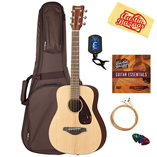 Yamaha JR2 Junior-Size 33-Inch Acoustic Guitar - Natural Bundle with Gig Bag, Tuner, Strings, String Winder, Picks, Austin Bazaar Instructional DVD, and Polishing Cloth