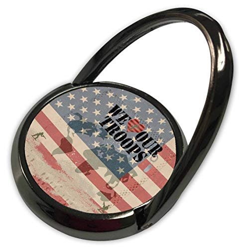 (3dRose Beverly Turner Patriotic Design - Our Troops, Soldiers, Dog tags, Map of the World, USA Flag - Phone Ring (phr_290386_1))