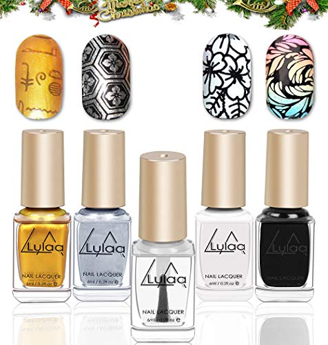 DR. MODE Stamping Nail Polish - 4 Bottles Solid Color Nail Art Polish and Fast Drying Top Coat, Nail Art Stamp Polish Pigmented Lacquer Gold Silver Black White