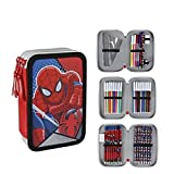 Marvel Spiderman 2700-200 Filled Pencil Case Triple, 3 Compartments, markers, crayons, Accessories School 42 Pieces, Polyester, Multi-Colour