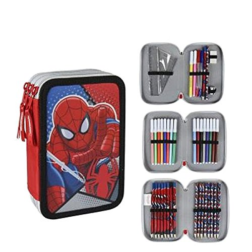 Marvel Spiderman 2700–200Filled Pencil Case Triple、3コンパートメント、マーカー、クレヨン、アクセサリー学校42ピース、ポリエステル、マルチカラーの商品画像