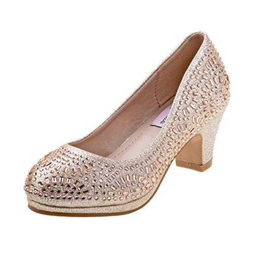 Shoes Designer Bridesmaid (Nanette Lepore Girls Rhinestone and Glitter Platform Dress Pumps, Gold, 2 M US Little Kid')