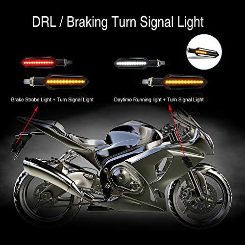 Bernstein+Rot+Wei/ß E Roller Blinker Packung mit 4 FEZZ LED Blinker Motorrad Universal mit Bremslicht Tagfahrlicht Motorrad