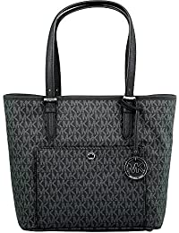 Women's Large Jet Set Top Zip Snap Pocket Tote Bag Leather Shoulder