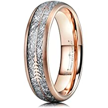 Three Keys Jewelry 6mm 8mm Imitated Meteorite Arrows Inlay Rose Gold Tungsten Wedding Ring Hunting Band