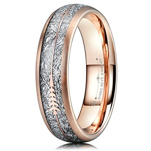 Three Keys 6mm Tungsten Wedding Ring for Women Domed Imitated Meteorite Arrows Inlay Rose Gold Meteorite Wedding Band Engagement Ring Promise Ring Size 9