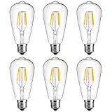 6-Pack LED Light Bulb, Oak Leaf 4W ST64 Antique Edison Bulb, Screw E27 LED Bulb 25W Incandescent Replacement, 2700K, 330LM, Warm White Retro Old Fashioned Squirrel Cage Filament Glass 220-240V