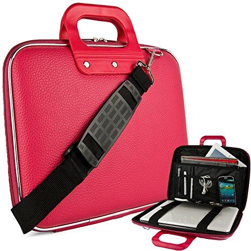Microsoft Laptop Roller (Vegan Leather Leon Cube Carrying Pink Shoulder Bag w/ Handles For Microsoft 13.3