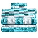 Caro Home 6PC-1075-T1-801 Stripes Rugby 6-Piece Cotton Bath Towel Set
