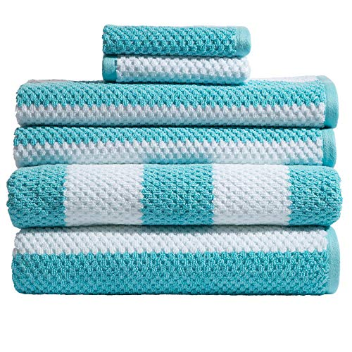 Caro Home 6PC-1075-T1-801 Stripes Rugby 6-Piece Cotton Bath Towel Set by Caro Home