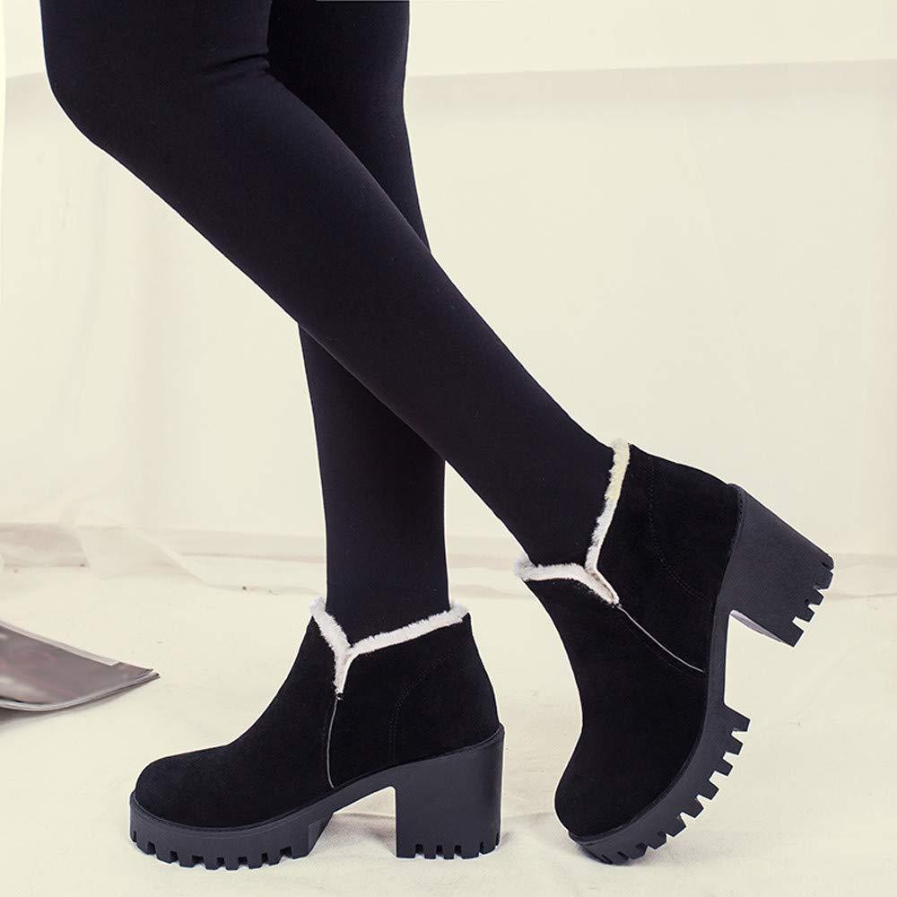 Amazon.com: SSYUNO Big Sale Simple Soft Women High Heel Shoes Martain Boot Leather Slip-On Plus Velvet Round Toe Shoes Black: Shoes
