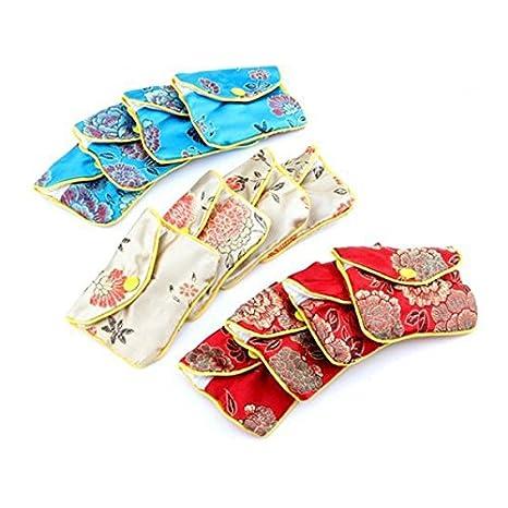 OULII Bolsas de regalo chino tradicional brocado moneda monedero bordado bolsa joyas bolsa, paquete de 12