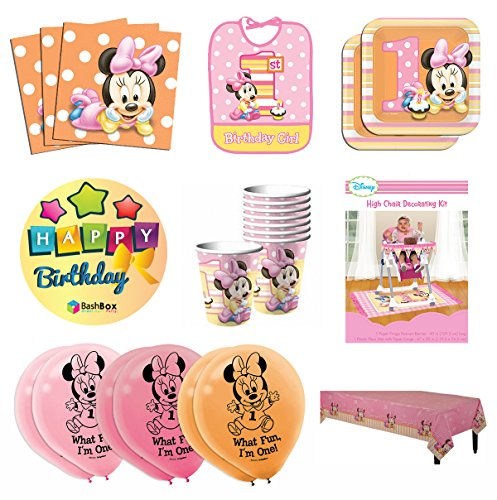 BashBox Mega Minnie Mouse 1st Birthday Party Supplies Pack Including Plates, Cups, Napkins, Table Cover, High Chair Kit, Bib and Balloons for 16 Guests