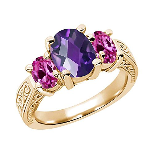 Gem Stone King 2.80 Ct Oval Purple Amethyst Pink Created Sapphire YG Plated Silver Ring (Size 7)