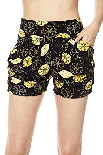 Premium Ultra Soft Brushed Yummy Popular Print Harem Shorts (Small/Medium (0-10), Lemon Print) - Brushed Short