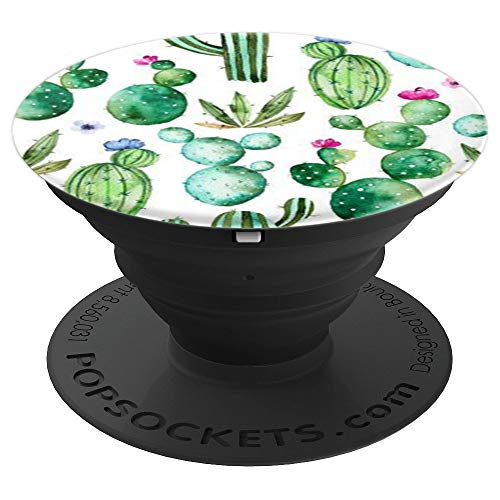 - Cute Cactus Background Pattern Design On White - PopSockets Grip and Stand for Phones and Tablets