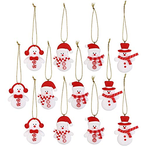 Sea Team Assorted Clay Figurine Ornaments Cute Traditional Snowman Doll Hanging Charms Christmas Tree Ornament Holiday Decorations, Set of 12