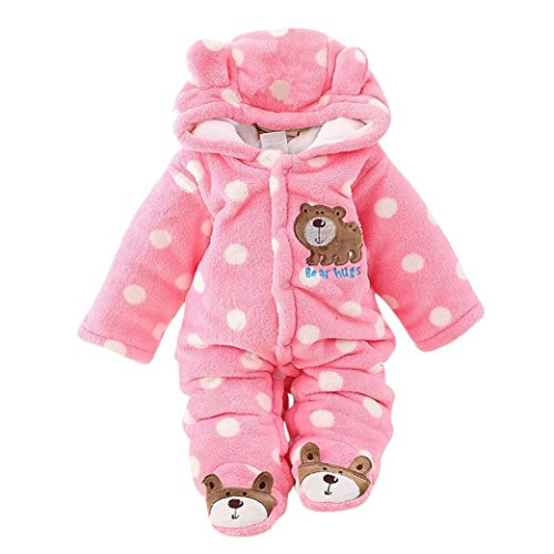 Winter Warm Velvet Cartoon Bear Dot Hooded Footed Coveralls with Ears (0-3 Months, Pink) (Dot Bear)