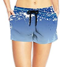 Christmas Wallpaper Board Shorts Perspiration Drawers With Pockets For Womans White
