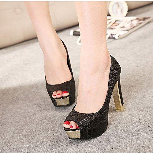negro AARDIMI Tacón de Cerrada con Mujer Zapatos Punta wwR8q0Z
