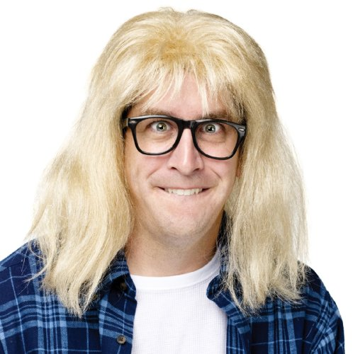 SNL Garth Algar Wig and Glasses Accessory Kit (Fake Wigs)