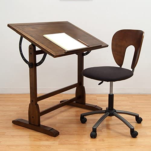 Studio Designs 42 in. Vintage Drafting Table and Chair Set