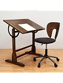Vintage Drafting Table And Chair Set