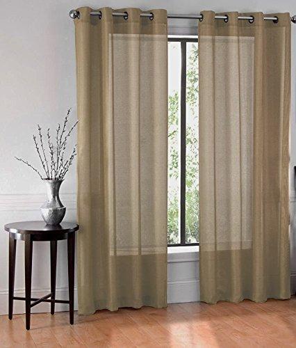 GorgeousHomeLinen (Ruby)Different Colors & Sizes 2 Pc Sheer Window Curtain Drape Panels 8 Soild Bronze Grommets (95