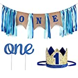 Baby 1st Birthday Boy Decorations WITH Crown - Baby Boy First Birthday Decorations High Chair Banner - Cake Smash Party Supplies - Happy Birthday ONE Burlap Banner, No.1 Crown