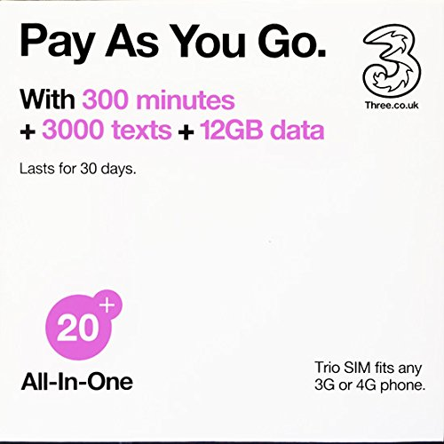 Europe (U.K.) prepaid sim with 42 countries - Three SIM Card with £20 Credit 300min+300texts+12GB data (Europe Prepaid Sim) 42 Destinations! 3 sim! by Three SIM (Image #1)