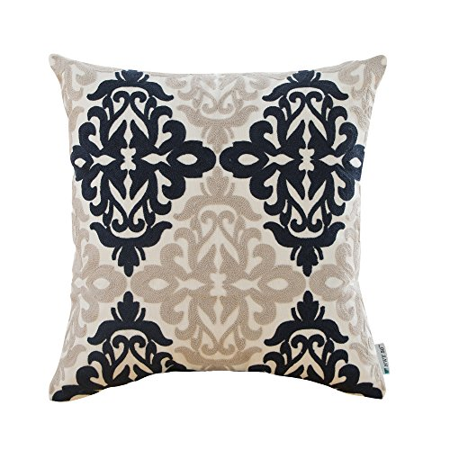 HWY 50 Couch Throw Pillow Covers 18 x 18 inch , Cotton Canvas Embroidered Home Decorative Throw Pillows Cases For Sofa / Bed Euro Navy Blue Grey Farmhouse Cushion Covers , Decor Floral Pattern (Pillows Blue Couch Royal)