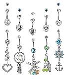 Thunaraz 10Pcs 14G Stainless Steel Belly Button Ring Dangle Navel Barbell Body Jewelry Piercing for Women Teen Girls