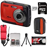 Coleman Xtreme C20WP Shock & Waterproof HD Digital Camera (Red) 16GB Card + Case + Floating Strap + Tripod + Kit