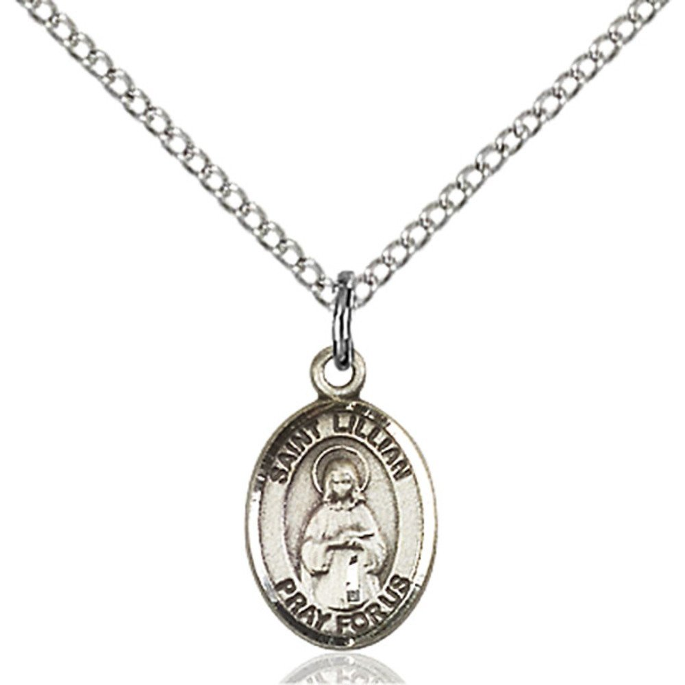 Bonyak Jewelry St Lillian Hand-Crafted Oval Medal Pendant in Sterling Silver
