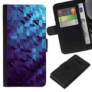 KingStore / Leather Etui en cuir / Samsung Galaxy A3 / Patrón dimensional 3D Azul;